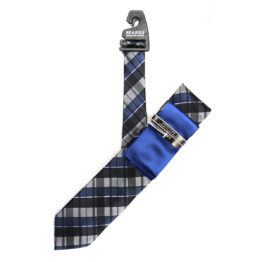 JOHN SPARKS Royal Blue – Tie + POCKET SQUARED2 + Tie Bar 4175