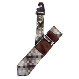 JOHN SPARKS Brown – Tie + POCKET SQUARED2 + Tie Bar 4178