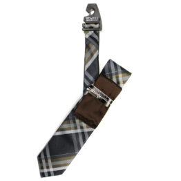 JOHN SPARKS Brown – Tie + POCKET SQUARED2 + Tie Bar 4180