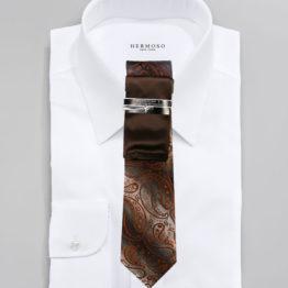 JOHN SPARKS Dark Brown  – Tie + POCKET SQUARED2 + Tie Bar 4181