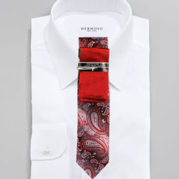 JOHN SPARKS Red  – Tie + POCKET SQUARED2 + Tie Bar 4185