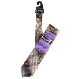JOHN SPARKS Violet  – Tie + POCKET SQUARED2 + Tie Bar 4188
