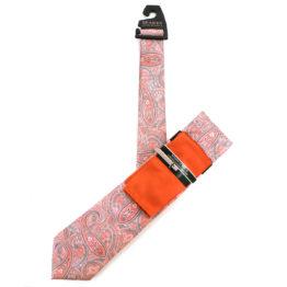 JOHN SPARKS Orange – Tie + POCKET SQUARED2 + Tie Bar 4327